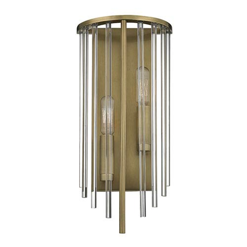 Lewis Aged Brass Two-Light Wall Sconce
