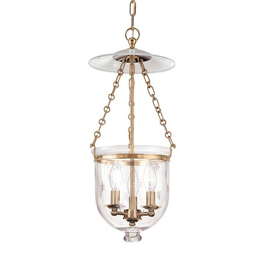 Hampton Aged Brass Three-Light Mini Pendant