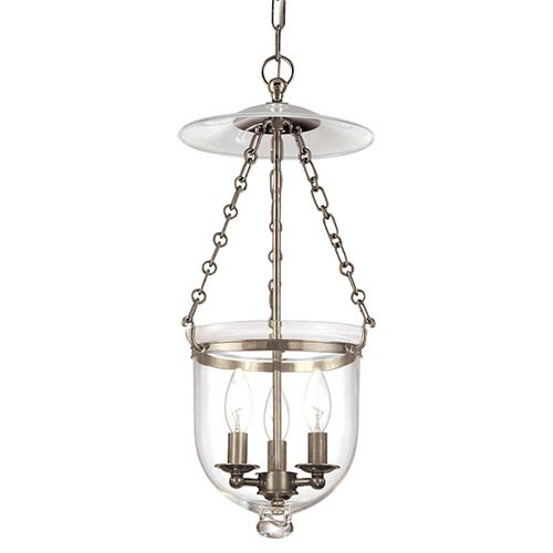 Hampton Historic Nickel 21-Inch Lantern Mini Pendant with Clear Glass