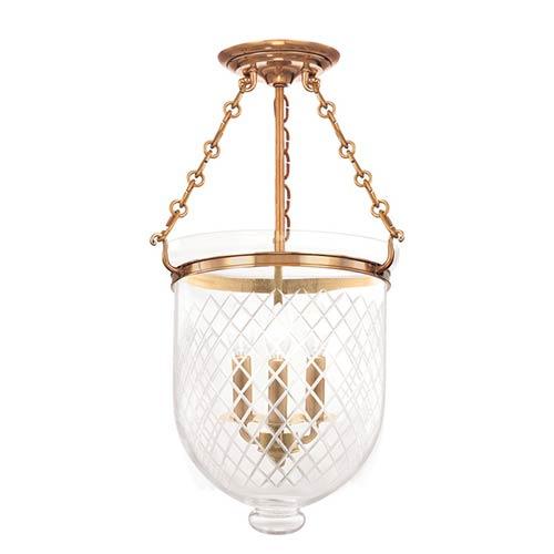 Hudson Valley Hampton Aged Brass 21-Inch Three-Light Semi Flush with Clear Diamond Cut Glass
