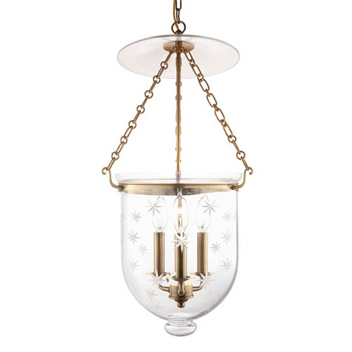 Hudson Valley Hampton Aged Brass 25-Inch Three-Light Pendant with Clear Star Cut Glass