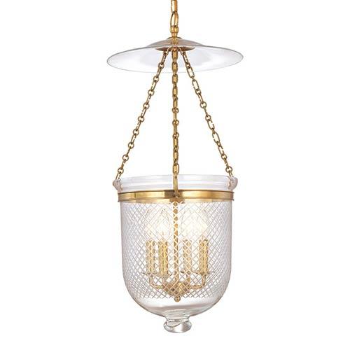 Hampton Aged Brass 31-Inch Four-Light Pendant with Clear Diamond Cut Glass