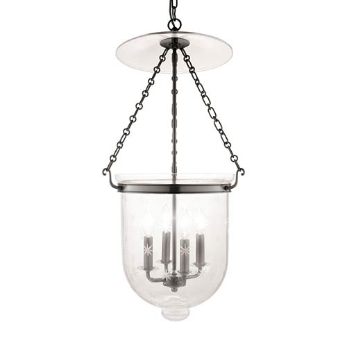 Hampton Historic Nickel 31-Inch Four-Light Pendant with Clear Star Cut Glass