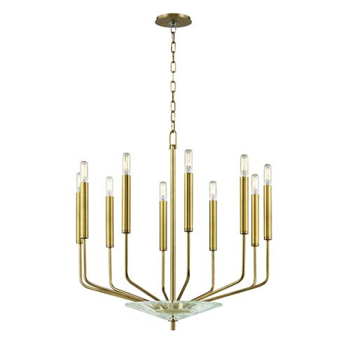 Gideon Aged Brass Ten-Light Chandelier