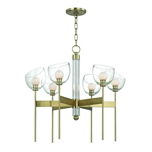 Davis Aged Brass Six-Light LED Chandelier