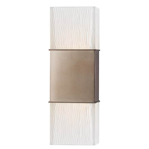 Hudson Valley Aurora Brushed Bronze Two-Light Wall Sconce with Frosted Shade