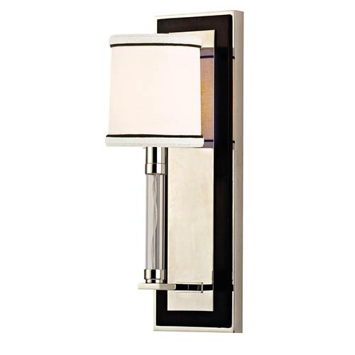 Hudson Valley Collins Polished Nickel One-Light Wall Sconce with White and Black Trim Shade