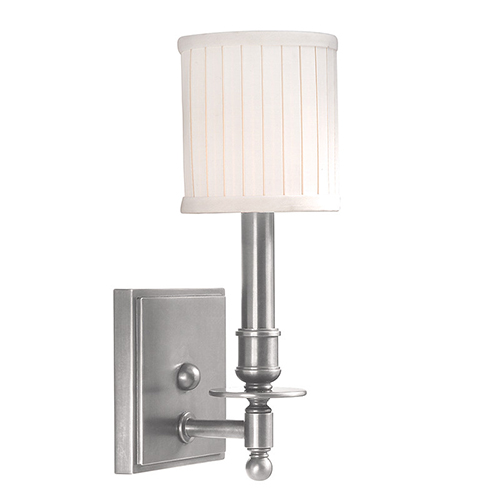Hudson Valley Palmer Satin Nickel One-Light Wall Sconce with Off-White Linen Shade