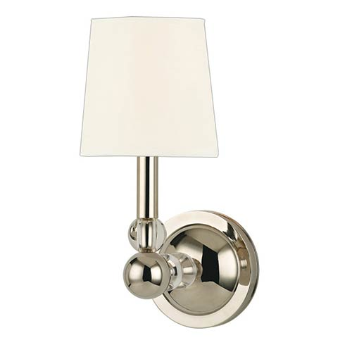 Hudson Valley Danville Polished Nickel Wall Sconce with White Faux Silk Shade