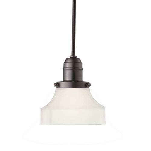 Hudson Valley Vintage Old Bronze One-Light Pendant with 5.5-Foot Cord with Frosted Glass - 226 Glass