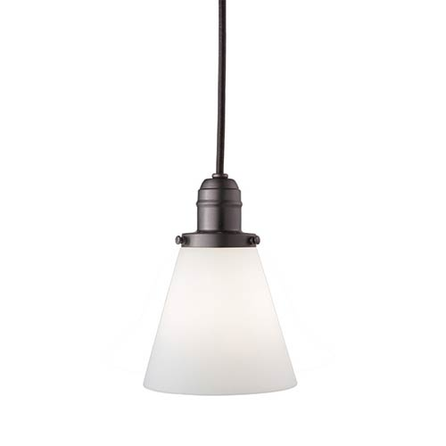 Hudson Valley Vintage Old Bronze One-Light Pendant with 5.5-Foot Cord with Matte Opal Glass - 505M Glass