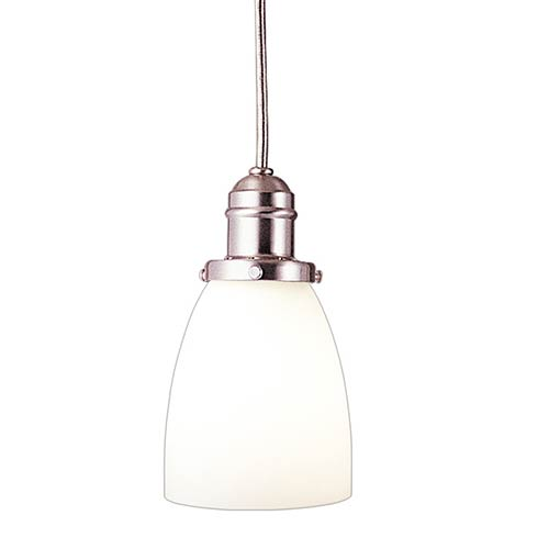 Hudson Valley Vintage Satin Nickel One-Light Pendant with 5.5-Foot Cord with Matte Opal Glass - 348M Glass