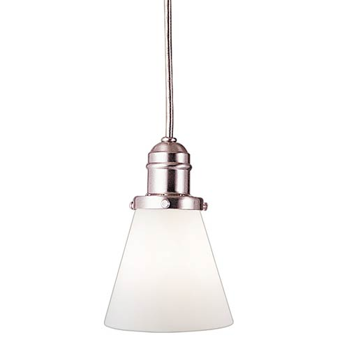 Hudson Valley Vintage Satin Nickel One-Light Pendant with 5.5-Foot Cord with Matte Opal Glass - 505M Glass