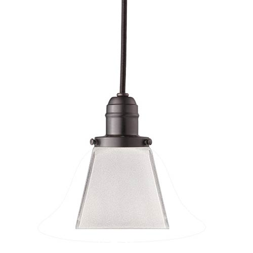 Hudson Valley Vintage 13-Inch Old Bronze Mini Pendant with Clear Outside, Frost Inside Glass