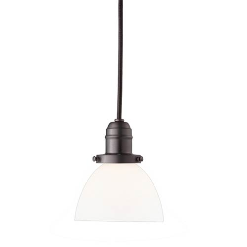 Hudson Valley Vintage Old Bronze One-Light Pendant with 11-Foot Cord with Matte Opal Glass - 823 Glass