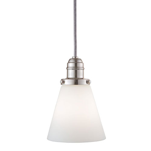 Hudson Valley Vintage Polished Nickel One-Light Pendant w/ 11 Ft. Cord with Matte Opal Glass - 505M Glass