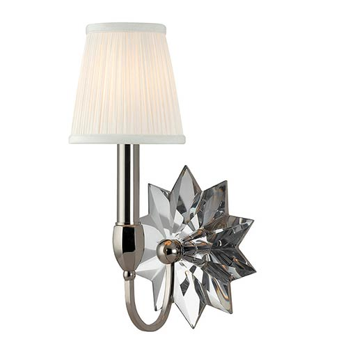 Hudson Valley Barton Polished Nickel One-Light Wall Sconce with White Pleated Shade