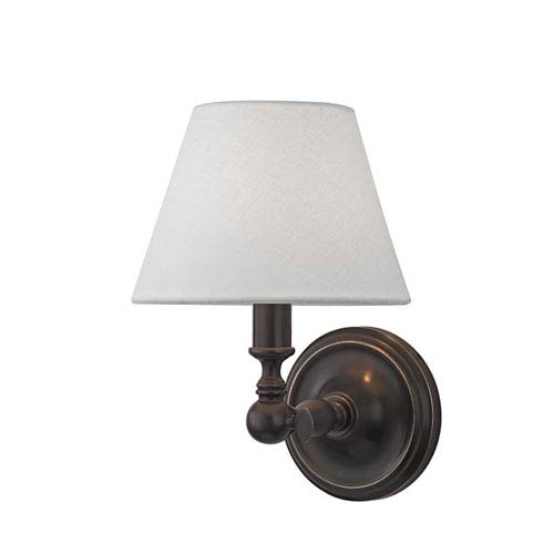 Sidney Old Bronze One-Light Wall Scone with white Linen Shade