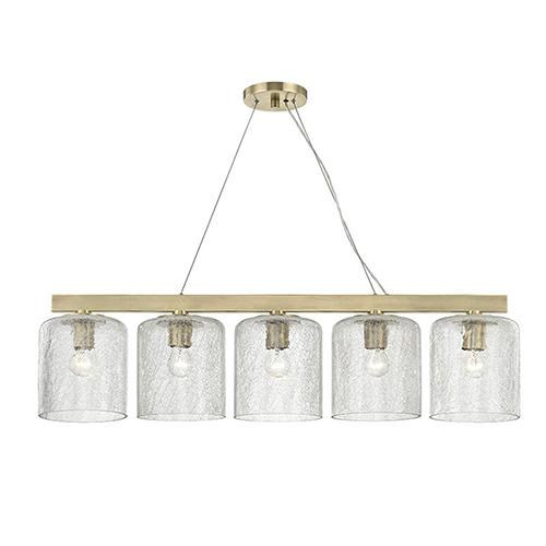 Hudson Valley Charles Aged Brass 5-Light 40.5-Inch Island Light