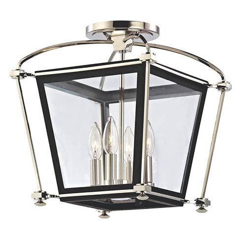 Hudson Valley Hollis Polished Nickel Four-Light Semi Flush Light Fixture with Clear Glass