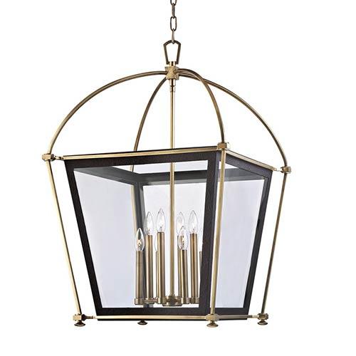 Hollis Aged Brass Eight-Light Pendant with Clear Glass