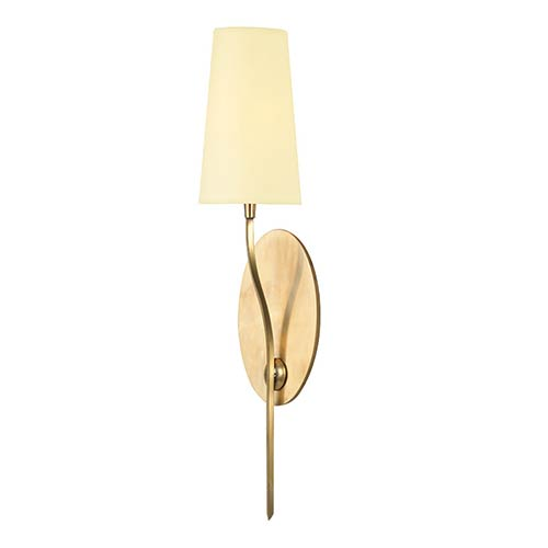 Hudson Valley Rutland Aged Brass One-Light Wall Sconce with Cream Shade