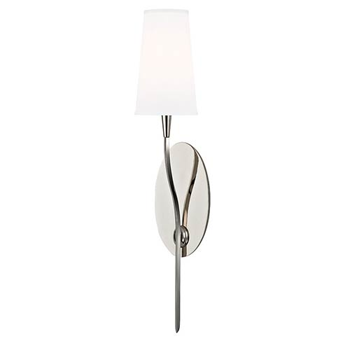 Hudson Valley Rutland Polished Nickel One-Light Wall Sconce with White Shade