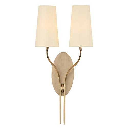 Hudson Valley Rutland Aged Brass Two-Light Wall Sconce with Cream Shade