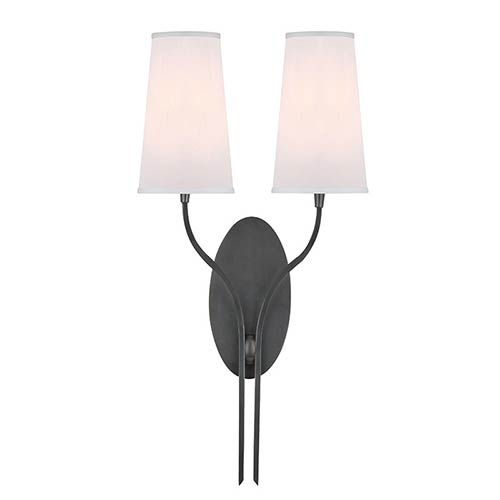 Hudson Valley Rutland Old Bronze Two-Light Wall Sconce with White Shade