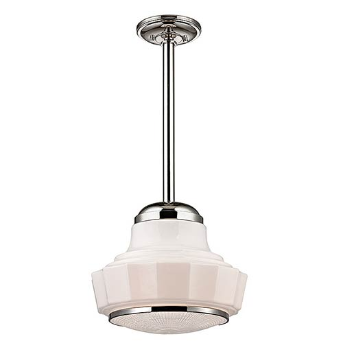 Hudson Valley Odessa Polished Nickel One-Light mini pendant with Opal Matte Glass