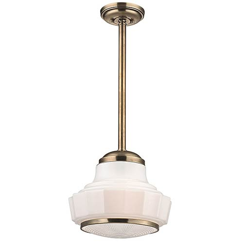 Hudson Valley Odessa Aged Brass One-Light 13.5-Inch Wide Pendant with Opal Matte Glass