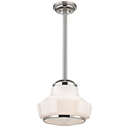 Hudson Valley Odessa Polished Nickel One-Light 13.5-Inch Wide Pendant with Opal Matte Glass