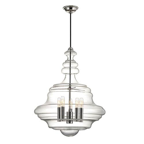 Washington Polished Nickel Five-Light Pendant with Clear Glass