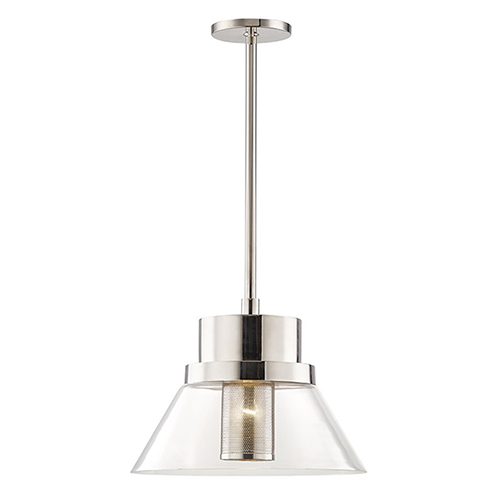 Paoli Polished Nickel 1-Light 15.5-Inch Pendant