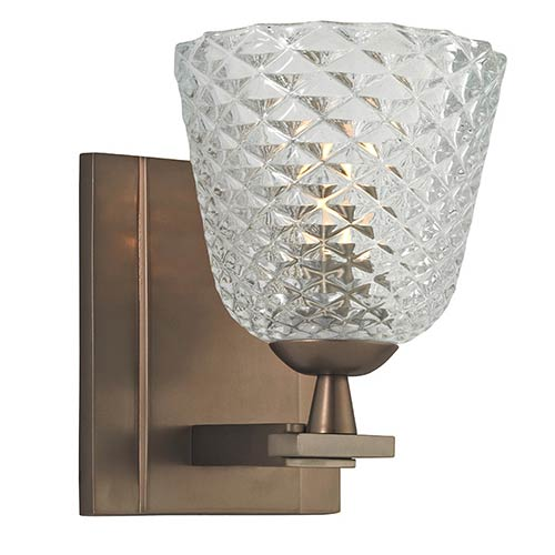Grafton Brushed Bronze One-Light Bath Light Fixture with Clear Pressed Crystal Glass