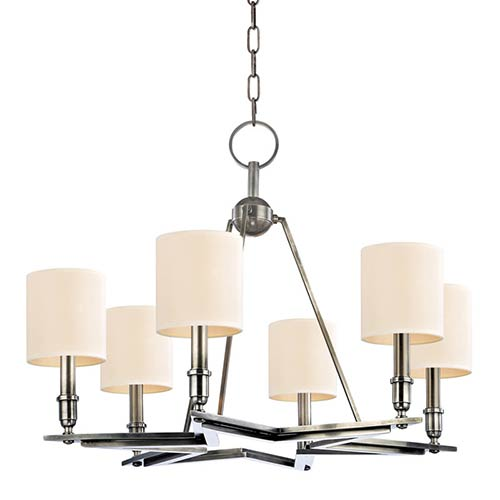 Hudson Valley Bethesda Aged Silver Six-Light Chandelier with Cream Shade