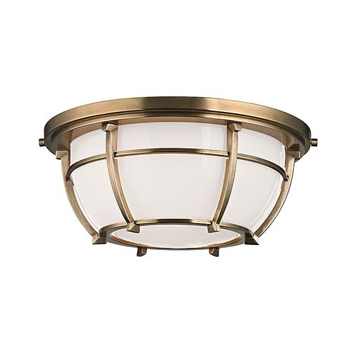 Hudson Valley Conrad Aged Brass Two-Light Flush Mount with Opal Glossy Glass