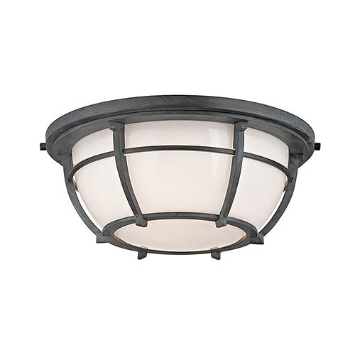 Hudson Valley Conrad Aged Zinc Two-Light Flush Mount with Opal Glossy Glass