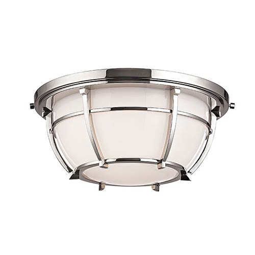 Conrad Polished Nickel Two-Light Flush Mount with Opal Glossy Glass