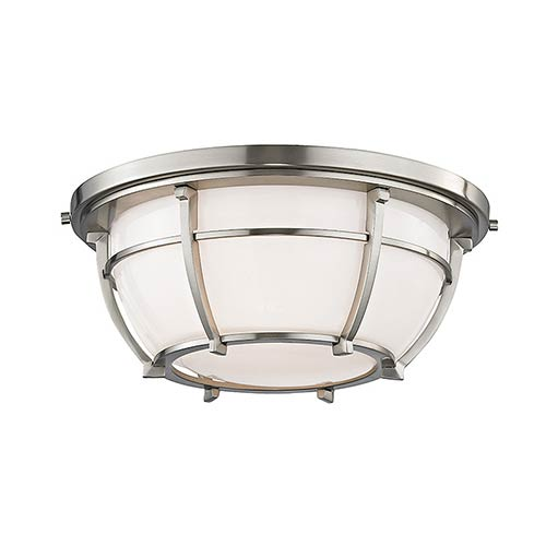 Hudson Valley Conrad Satin Nickel Two-Light Flush Mount with Opal Glossy Glass