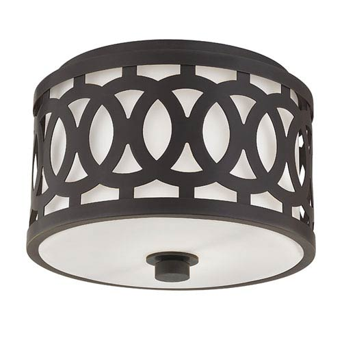 Genesee Old Bronze One-Light Flushmount with White Glass