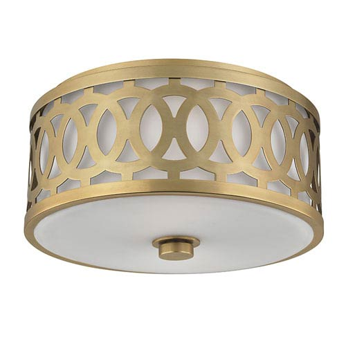 Genesee Aged Brass Two-Light Flushmount with White Glass
