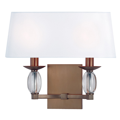 Hudson Valley Cameron Brushed Bronze Two-Light Wall Sconce with White Shade