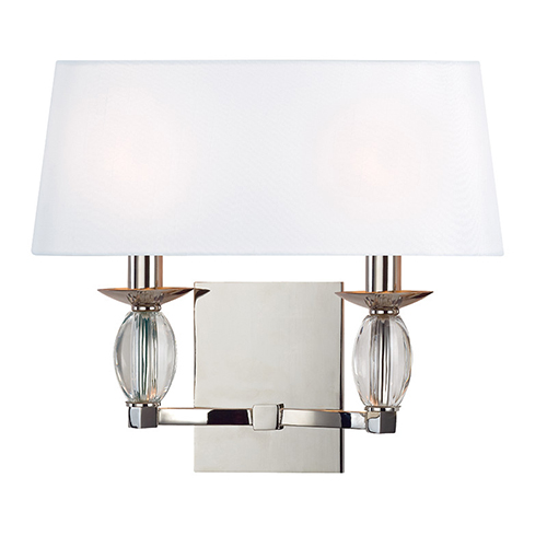 Hudson Valley Cameron Polished Nickel Two-Light Wall Sconce with White Shade