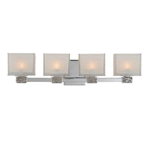 Hartsdale Polished Nickel Four-Light Bath Light Fixture with Clear Outside and White Inside Glass