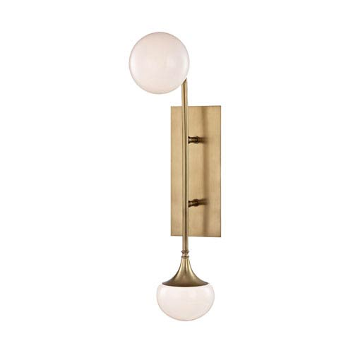Fleming Aged Brass LED Two-Light Wall Sconce