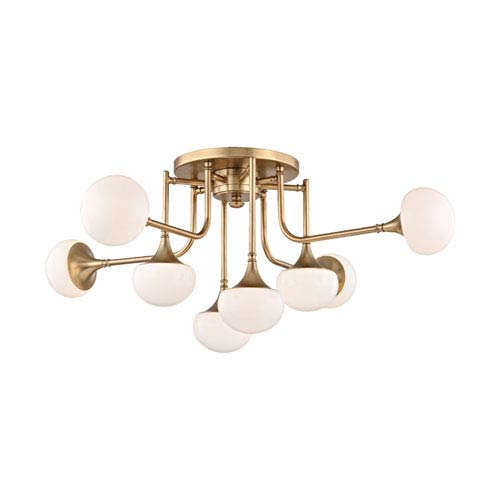 Hudson Valley Fleming Aged Brass LED Eight-Light Semi-Flush Mount