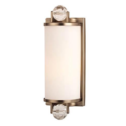 Hudson Valley Prescott Brushed Bronze One-Light Bath Light Fixture with Matte Opal Glass