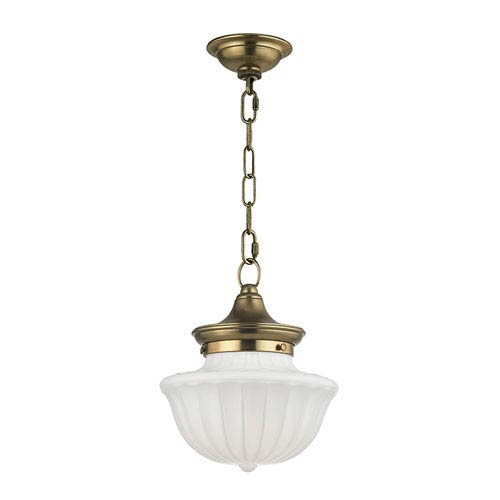 Dutchess Aged Brass Nine-Inch Pendant with White Glass
