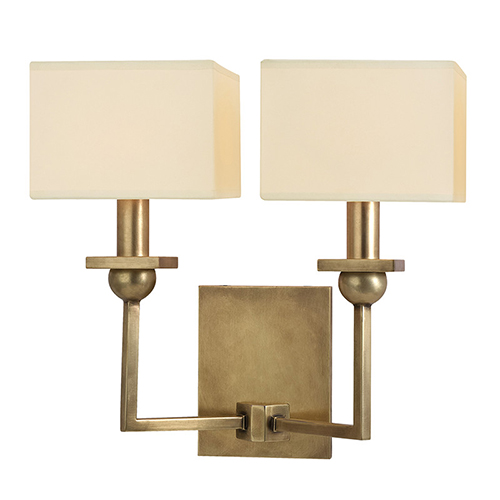Morris Aged Brass Two-Light Wall Sconce with Cream Shade